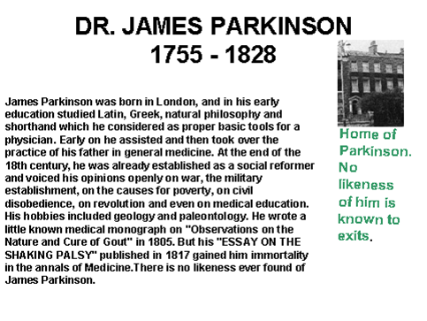 an essay on the shaking palsy parkinson Undoubtedly, parkinson's best known and most important work was essay on  the shaking palsy, published in 1817 describing what would later become.